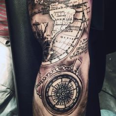 Cool Compass Map Tattoo For Males On Arm
