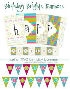 Peonies and Poppyseeds: Birthday Brights Printable Happy Birthday Banner Printable, Printable Banner, Happy Birthday Banners, Party Printables, Free Printables, 10th Birthday, 2nd Birthday Parties, Birthday Fun, Birthday Ideas