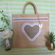 Hessian heart jute tote bag | Jute bags | Jute tote bags
