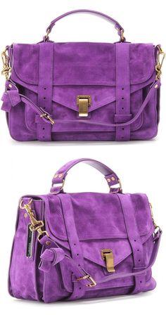Proenza Purple Suede Handbag ღ✟ Cheap Purses, Unique Purses, Cheap Handbags, Cute Purses, Handbags On Sale, Coach Handbags, Luxury Handbags, Fashion Handbags, Tote Handbags