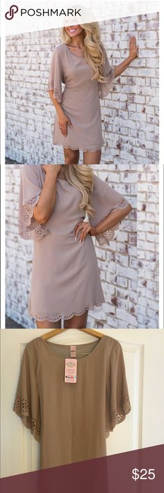 Taupe dress from Pink Coconut Brand new size small Taupe dress from online store Pink Coconut. Pink Coconut Dresses Midi