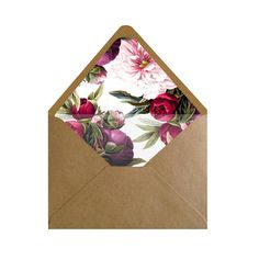 Printable Maroon and Light Pink Floral Envelope Liner/Patterned Backer 8.5 x 11…