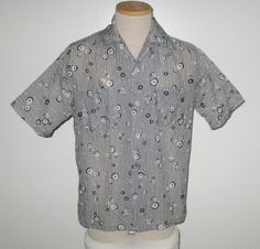 Vintage 1950s Abstract Gray Puckered Nylon Shirt - Size S, M by SayItWithVintage…