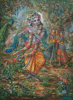 3 Gopis entralled by Krishna Lord Krishna Images, Radha Krishna Pictures, Radha Krishna Photo, Krishna Art, Krishna Photos, Shiva Art, Shiva Shakti, Krishna Leela, Cute Krishna