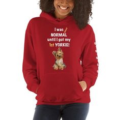A comfortable hoodie for women Yorkshire Terrier mom and parent from our new collection, Almost normal, with paws design on the left sleeve.