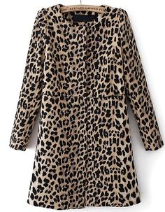 Leopard Long Sleeve Covered Button Pockets Coat