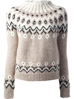 Search for MONCLER fair isle knit sweater on International Stores Online Icelandic Sweaters, Sweaters For Women, Coats For Women, Fair Isle Knitting, Sweater Design, Knitting Designs, Diy Clothes, Knitwear, Ganchillo