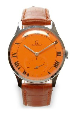 Orange Painted Face Vintage Omega Watch by CMT Fine Watch and Jewelry Advisors for Preorder on Moda Operandi