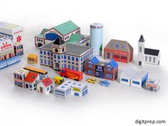 """Markus Fischer, from Germany, is the author of this really cool papercraft: the Micro City. He says: - """" Micro city is a collection of models of buildings, vehicles and infrastructure that are at a small scale, so that a whole city will fit on your desk."""""""
