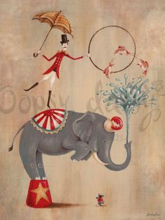 Love this Vintage Circus Art - would be such a cute nursery theme.