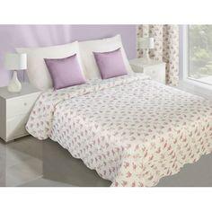 Krémovo fialové obojstranné prehozy na posteľ s motívom kvetov