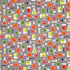 grey test tube fabric Robert Kaufman Science Fair - Retro Fabric - Fabric - kawaii shop modeS4u