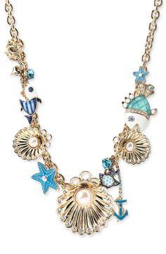 Betsey Johnson Uder the Sea: Fish, starfish, sea shell, anchor charm nautical necklace