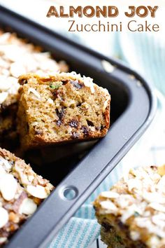 So decadent! If you love zucchini bread, you've gotta try our scrumptious Almond Joy Zucchini Cake! It's moist and tender, and full of the almond, coconut and chocolate flavors you love in Almond Joy candy bars! Bonus: it's nutritious enough for an afternoon snack … but also indulgent enough for dessert! Try it as an after-school treat, or serve it next to ice cream – YUM! | zucchini recipes healthy | zucchini recipes baked | almond joy cake | almond joy bars | www.TwoHealthyKitchens.com