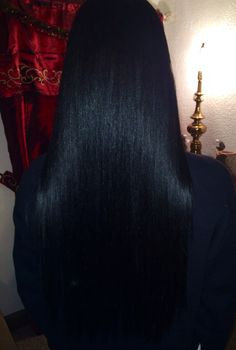Long real hair jet black/blue tint