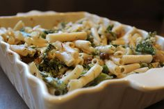 Comfort food to the max! Oh yea, and it is better for you too! Baked Pasta with Broccolini, Dates and Gruyere