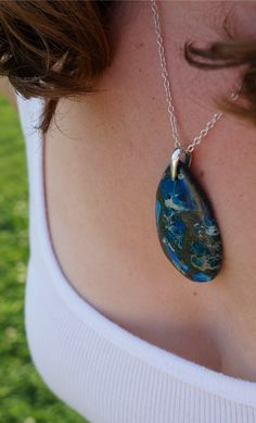 Handmade blue stone pendant necklace $61.50 https://www.etsy.com/listing/195778781/blue-stone-teardrop-necklace-with