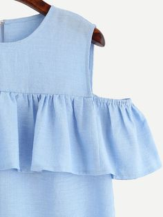 Shop Blue Open Shoulder Ruffle Top at ROMWE, discover more fashion styles online. Dresses Kids Girl, Kids Outfits, Shoulder Off, Cold Shoulder, Kids Frocks Design, Frock Design, Dress Sewing Patterns, Ruffle Top, Baby Dress