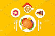Food Objects on Table - Illustrations