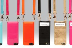 Bandolier iPhone cases in stylish colors - it's a crossbody, wearable case that's hands-free. Great for travel, nights out.