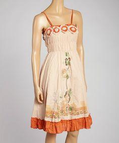 Love this Peach Embellished Sleeveless Dress - Women on #zulily! #zulilyfinds