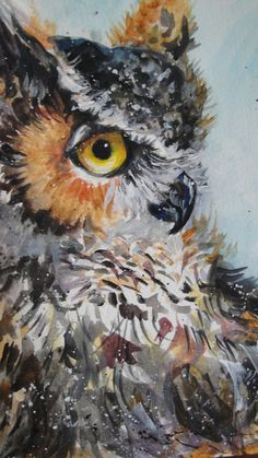 Great Horned Owl water colour painting