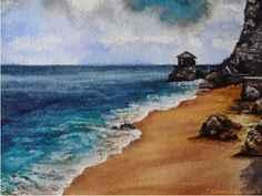 Seaside Watercolor Painting Tutorial - YouTube