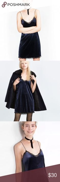 Zara Navy Velvet Slip Dress Zara Navy Velvet Slip Dress  with black lace accents, NEVER WORN, trendy and perfect. For any occasion especially a fun night out ! Zara Dresses Mini
