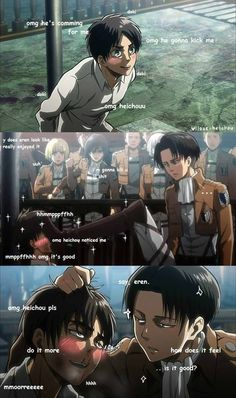 Rivaille (Levi) x Eren Jaeger Yup, this is the love that all the fan girls are seeing. ._.