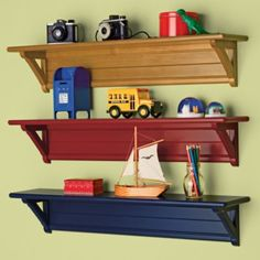 shelves...good for Michael's transportation room or we could go black-silver-blue for J's room