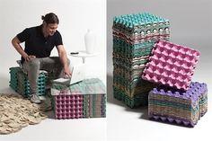 Muebles reciclando separadores de cartón para huevos . . . or egg carton coffee table and ottoman
