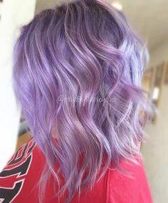 Wavy Lavender Long Bob Hairstyle