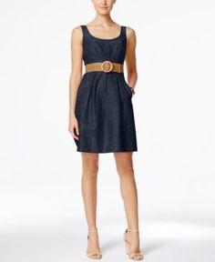 Nine West Belted Burnout Fit & Flare Dress - Blue 12
