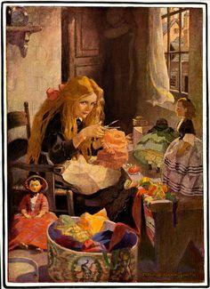 STUNNING Making DOLL Clothes.  Jessie Wilcox Smith.  VIintage Digital llustration. Vintage Little Girl and Dolls Digital DOWNLOAD..