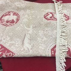 Stunning Custom Made to Order 19th-Century FRENCH Fabric Pillow with matching Fringe and Dark Red Premium Linen back.