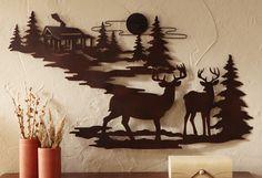 Northwoods wildlife Metal Cabin & Deer Wall Hanging Art Lodge Rustic Home Decor