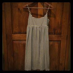 J. Crew dress Super soft black and white stripe dress. Inner skirt later creates a flowy breezy appearance. Hem sits just above knees. J. Crew Dresses Midi