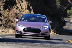 Tesla Model S (custom pink from the factory)
