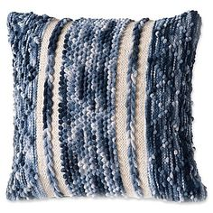 The Jean Chindi Square Indoor Throw Pillow is a chic, stylish decorative pillow - the navy stripe motif is perfect for your living room or bedroom. Tapestry Loom, Navy Bedding, Knitted Throws, Couture, Cool Things To Make, Basket Weaving, Home Art, Decorative Pillows, Throw Pillows