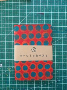 Notebook red orange blue with dots hand-bound and hand-printed Notebook, Orange, Etsy, Red Envelope, Stamping, Wood Carvings, Craft Gifts, Handmade, Blue