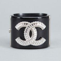 #Chanel Black CC Crystal Cuff Bracelet