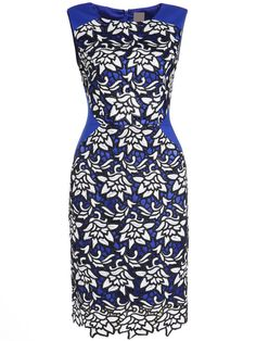 Blue Round Neck Sleeveless Hollow Embroidered Dress -SheIn(abaday)