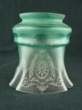 VICTORIAN ART NOUVEAU JADE GREEN ETCHED GAS LAMP, TILLEY TABLE OIL LAMP SHADE