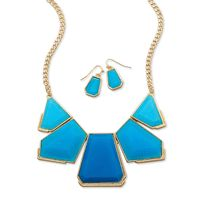 Blue Acrylic Gold Tone Fashion Necklace and Earring Set Shop Journey by Nae for your Silver Star Exclusives! www.925silvercatalog.com Vendor Code: JOU91988
