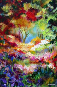 Forrest Floral Landscape Painting 24 x 36 by ElainesHeartsong