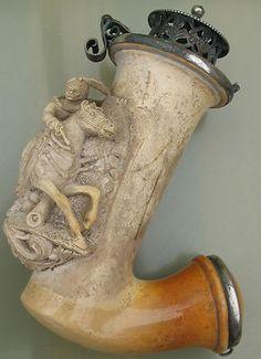 Superb Antique Silver mounted cased Meerschaum pipe, c1850, Weiss