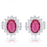 Chrisalee 3.3ct Ruby Cz Rhodium Classic Stud Earrings S-VarietyStore