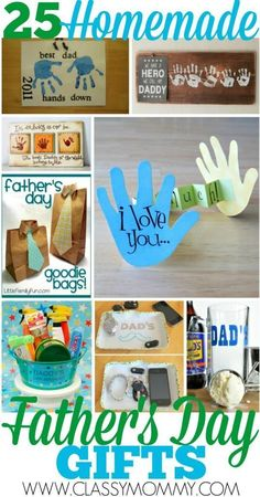 25 EASY Homemade Crafts for Father's Day: In our family, nothing beats out the homemade crafts when it comes to gift giving. Especially those hand prints crafts and tiny scribbles! We've got simple project ideas and links with instructions to help you get