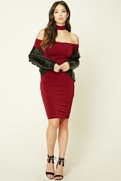 A stretch-knit bodycon dress featuring a choker strap design, long sleeves, and an off-the-shoulder neckline.