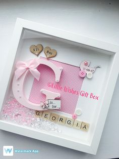 New Baby Girl birth / child initial box frame, perfect for a Nursery or gift to celebrate the birth of a new baby! Add all birth details or just a name. Can be made in any colours & for boys or girls. Please see my other listings for Boys or Twins! Any of our frames can be changed to suit your own requirements. They can be made in either a black or white box frame, & the decoration can be made in any colours. You can also choose whether to have a frame made to incorporate a phot...